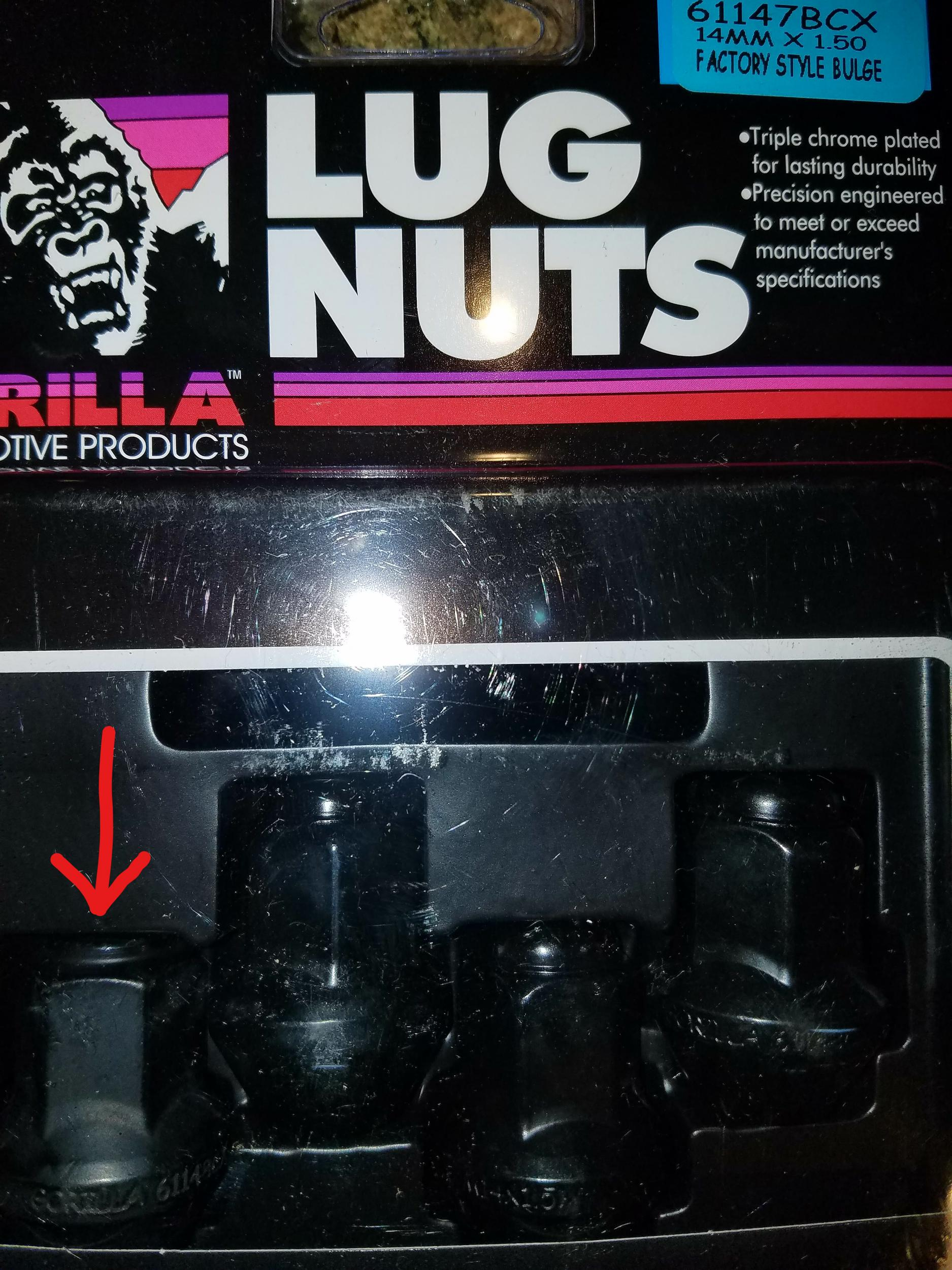 Disappointed in my black lugnut order