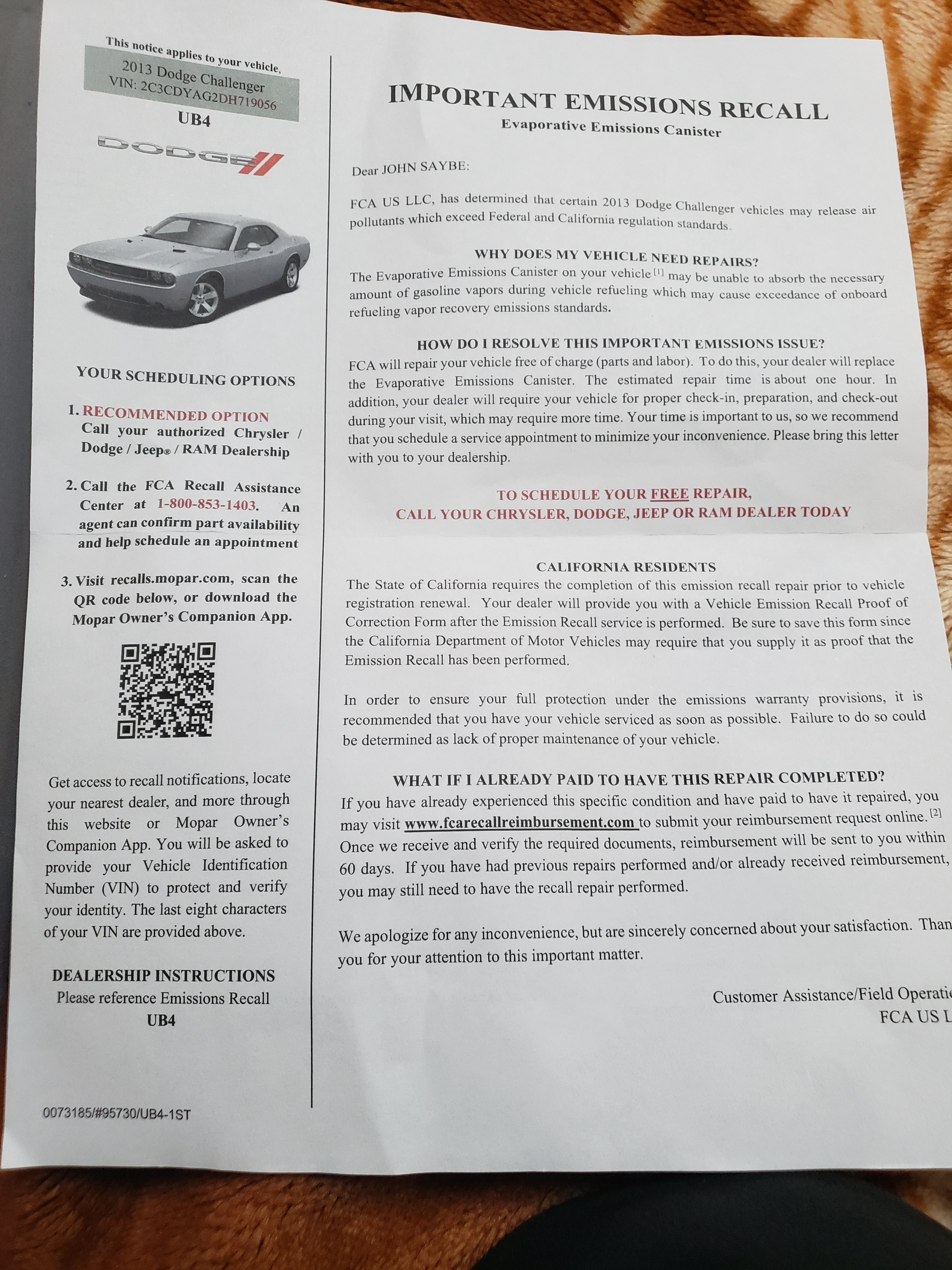 Important Emission Recall Dodge Challenger Forum