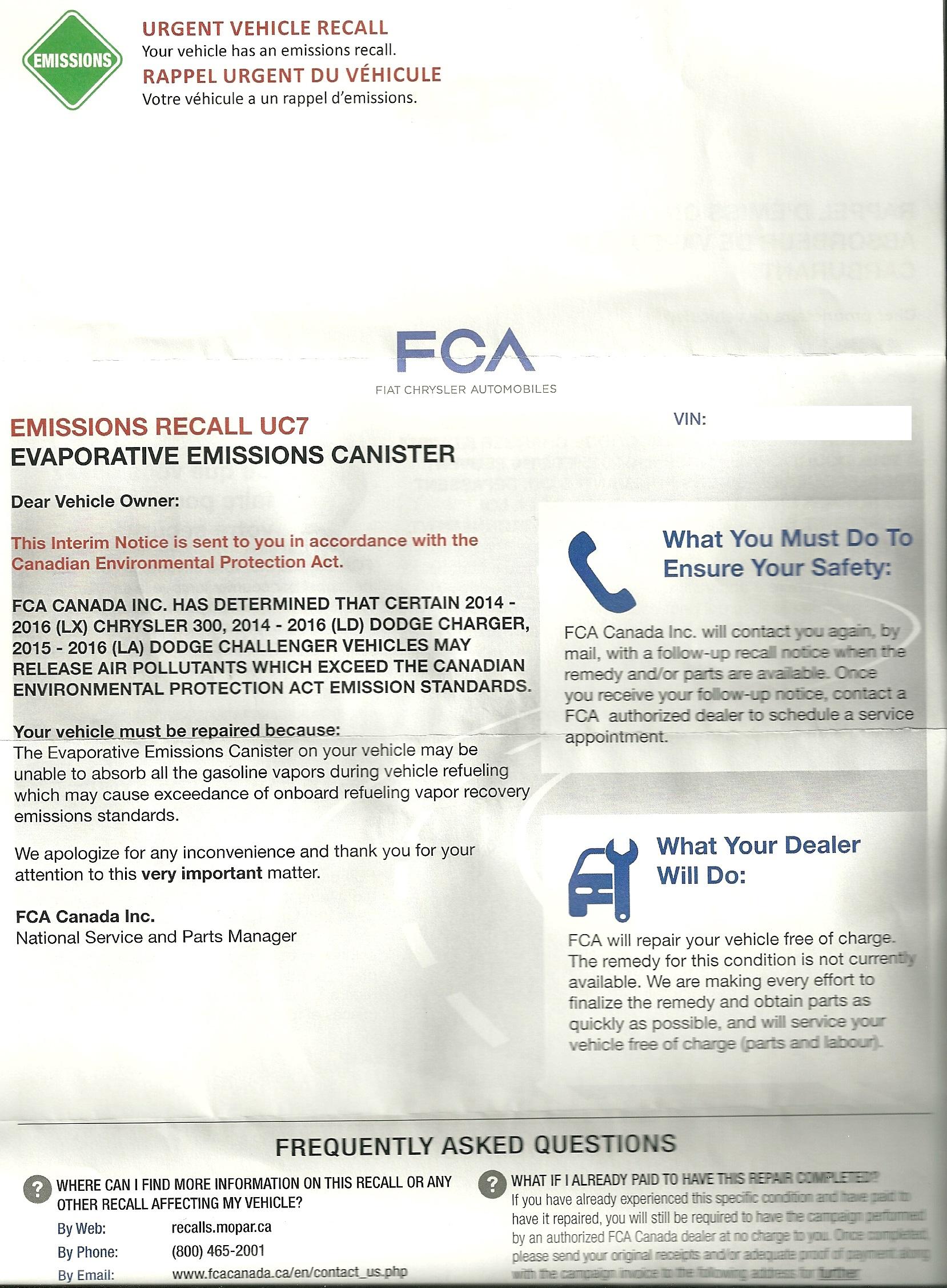 Emissions Recall Dodge Challenger Forum
