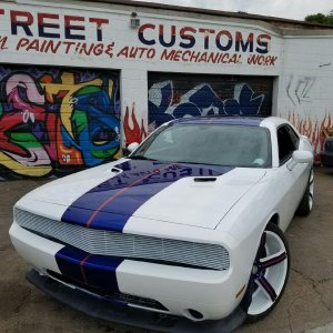 White Challenger with Blue and Orange Stipes