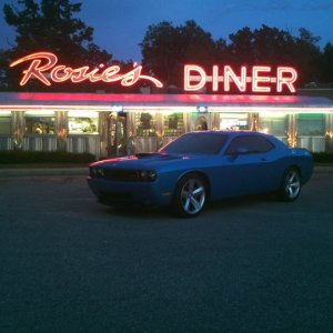 Challenger in front of the Diner