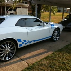 white and baby blue on 24' rims
